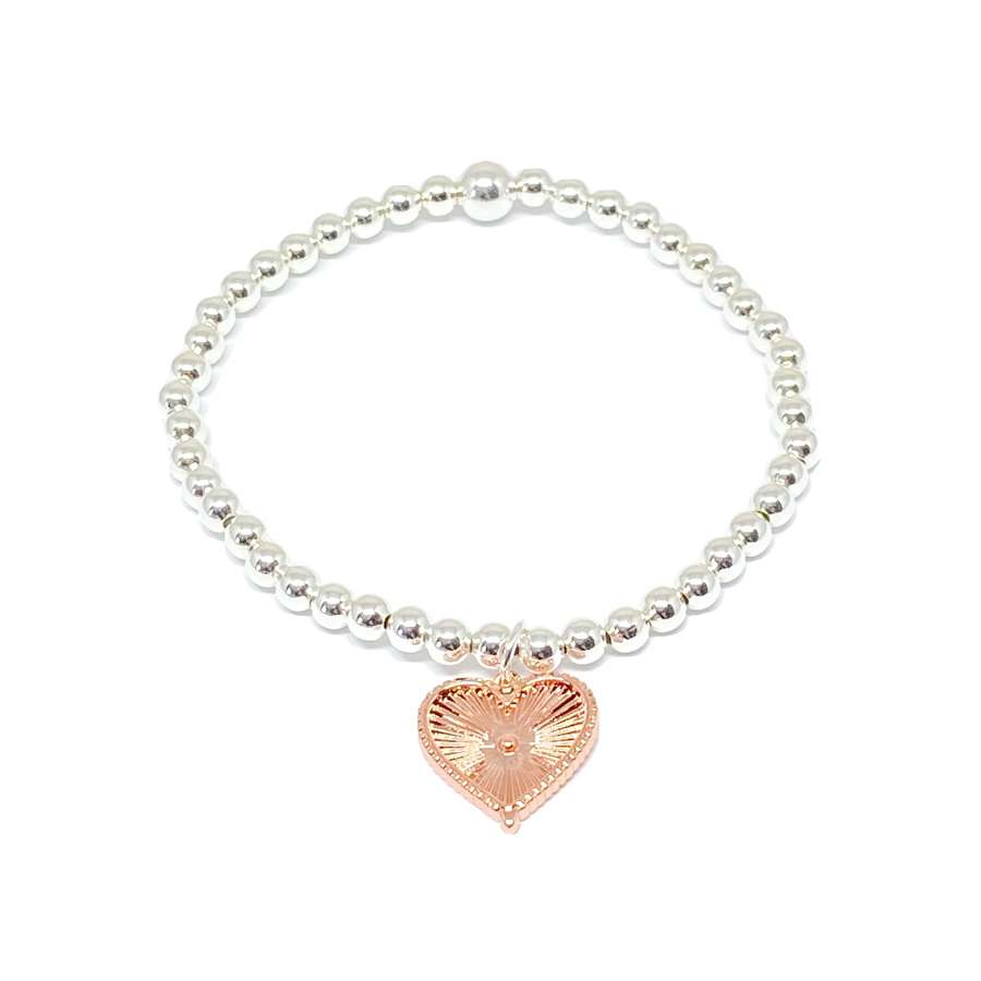 Lottie Heart Charm Bracelet - Rose Gold