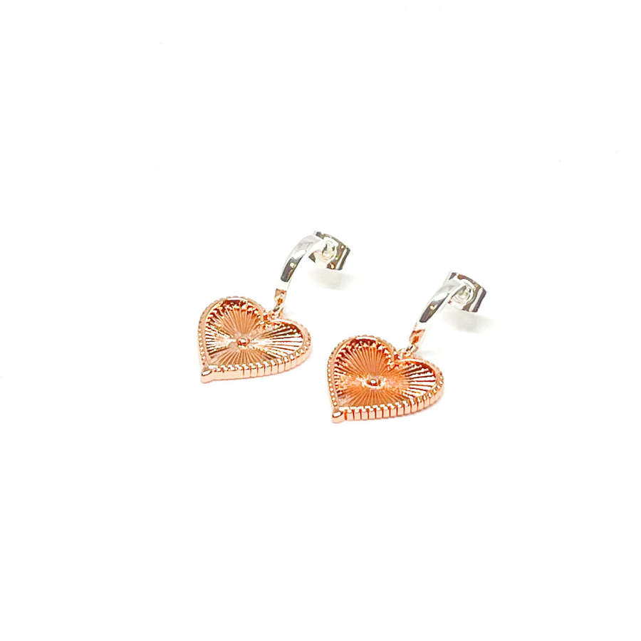 Lottie Sterling Silver Heart Earrings - Rose Gold