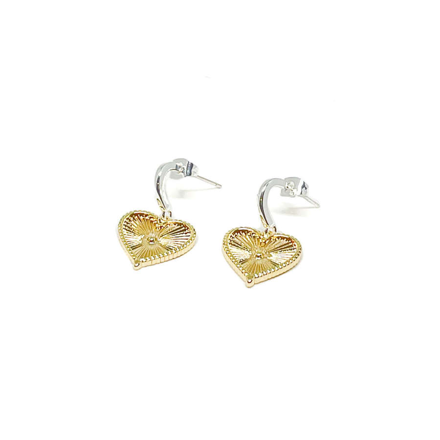 Lottie Sterling Silver Heart Earrings - Gold