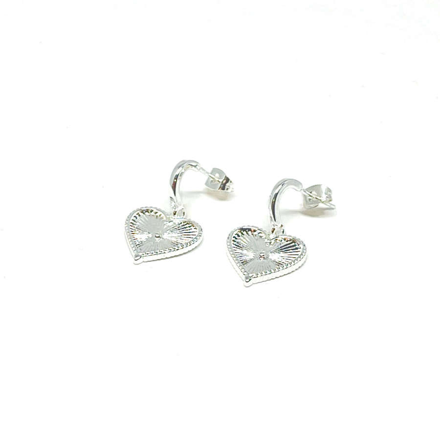 Lottie Sterling Silver Heart Earrings - Silver