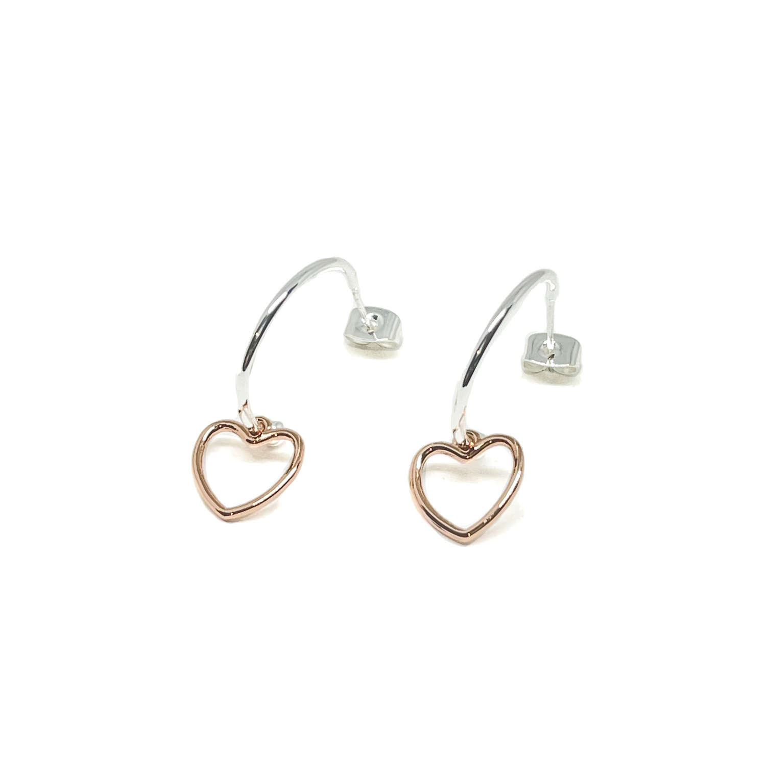 Selena Heart Sterling Silver Hoop Earrings - Rose Gold