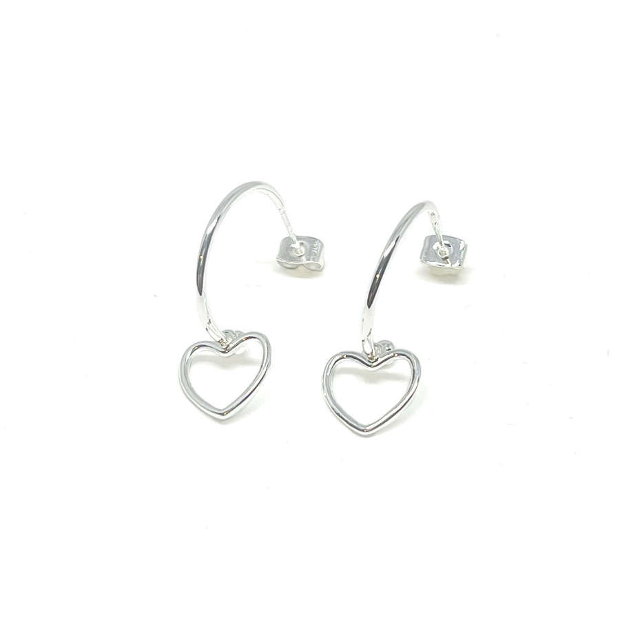 Selena Heart Sterling Silver Hoop Earrings - Silver