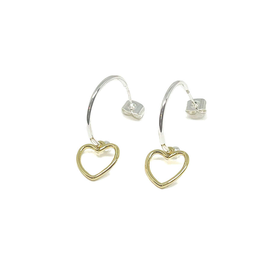 Selena Heart Sterling Silver Hoop Earrings - Gold