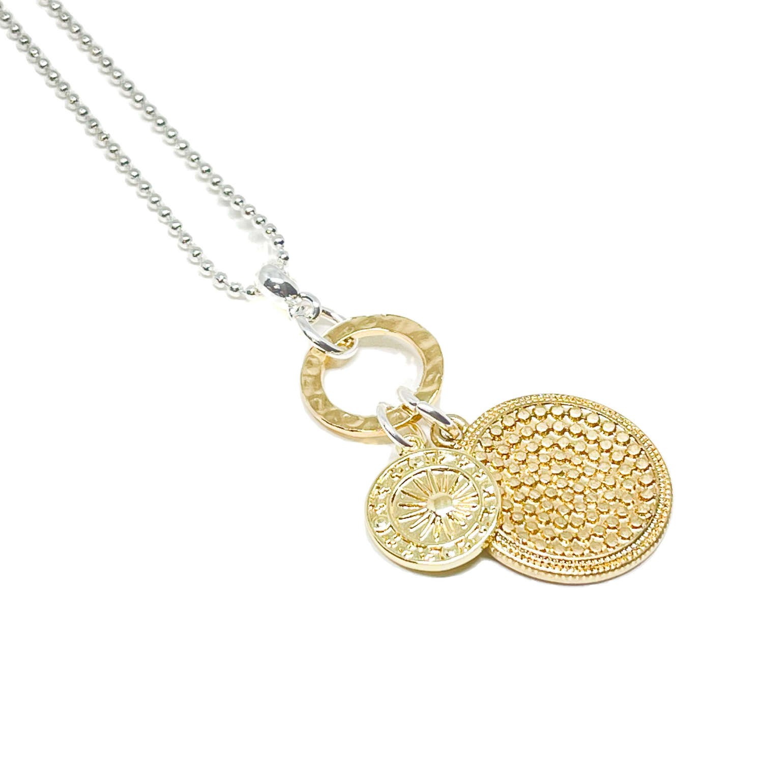 Petra Disc Charm Necklace - Gold