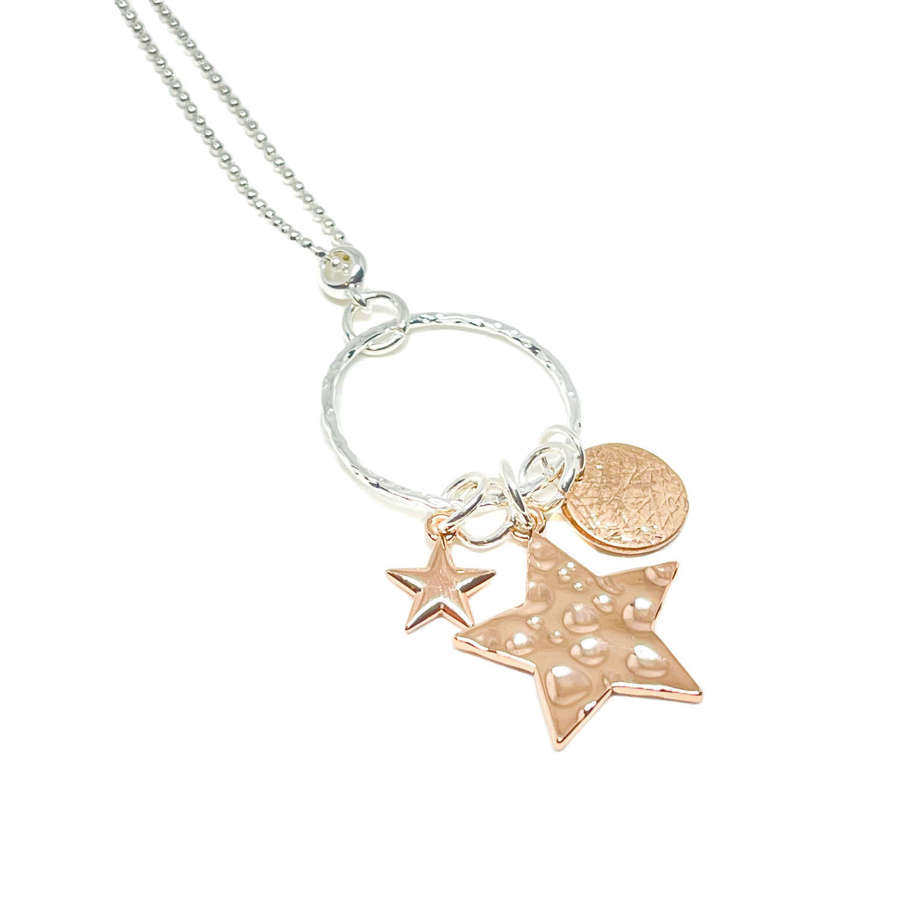 Joanna Star Charm Necklace - Rose Gold